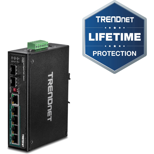 TRENDnet 6-Port Hardened Industrial Gigabit PoE+ DIN-Rail Switch, 4 x Gigabit PoE+ Ports, Shared Gigabit Port (RJ-45/SFP), Dedicated SFP, 120W Power Budget, IP30, Lifetime Protection, Black, TI-PG62