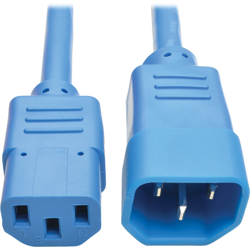 Heavy-Duty Power Extension Cord, 15A, 14 AWG (IEC-320-C14 to IEC-320-C13), Blue