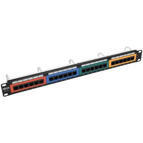24-Port 1U Rack-Mount 110-Type Color-Coded Patch Panel, RJ45 Ethernet, 568B, Cat