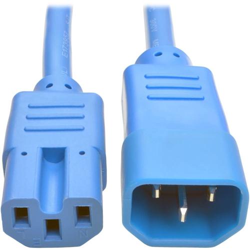 Heavy-Duty Computer Power Cord, 15A, 14 AWG (IEC-320-C14 to IEC-320-C15), Blue