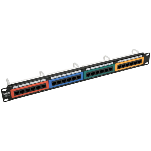 24-Port 1U Rack-Mount 110-Type Color-Coded Patch Panel, RJ45 Ethernet, 568B, Cat
