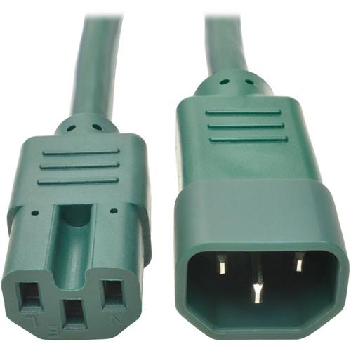 Heavy-Duty Computer Power Cord, 15A, 14 AWG (IEC-320-C14 to IEC-320-C15), Green