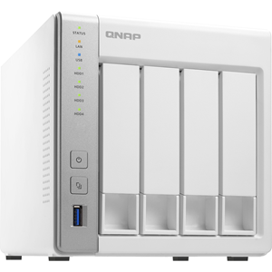 QNAP 4-bay Personal Cloud NAS with DLNA, mobile apps and AirPlay support. ARM Cortex A15 1.7GHzDual Core, 1GB RAM, ARM Cortex-A15 dual-core 1.7Ghz, 1GB RAM, SATA 6Gb/s, 2x GbE LAN, 3 x USB3.0, HDD hot-swappable
