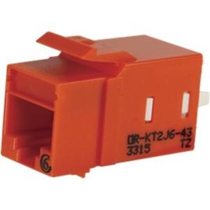 Ortronics Category 6 Keystone Jack, Lacing Cap Termination, Orange