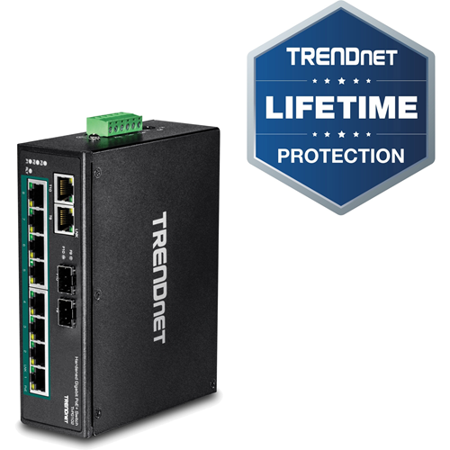 TRENDnet's 10-Port Industrial Gigabit PoE+ DIN-Rail Switch, model TI-PG102, has eight gigabit PoE+ ports with a 240 W PoE power budget, plus two gigabit RJ-45 / SFP shared ports.
