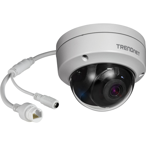 TRENDnets Indoor/Outdoor 8MP 4K H.265 WDR PoE IR Dome Network Camera, model TV-IP319PI, provides day and night surveillance with a night vision range of up to 30 meters (98 ft.)