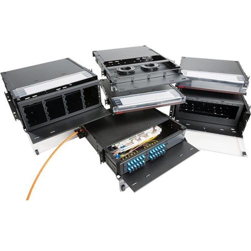 OCC Fiber Enclosure, Rack Mount, 4RU, Sliding, 12 Adapter Plates, Black