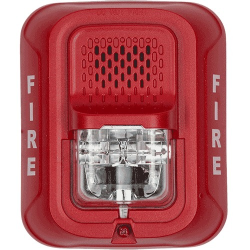 Wired - 33 V - 88 dB(A) - Audible, Visual - Wall Mountable - Red, Clear