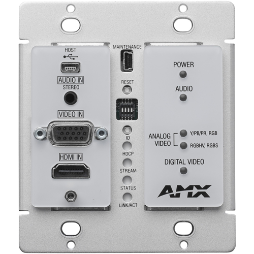 AMX N2300 Series 4K UHD Video Over IP Decor Style Wallplate Encoder with KVM, PoE