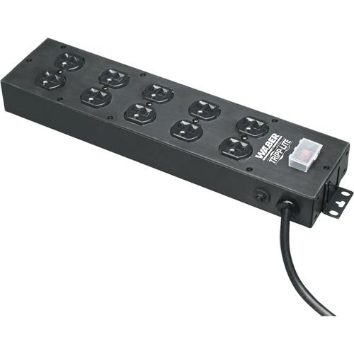 Tripp Lite Waber Power Strip 120V 5-15R 10 Outlet Metal 15' Cord 5-15P