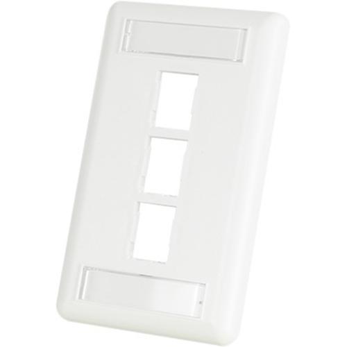 Ortronics HDJ 3 Hole Faceplate, White