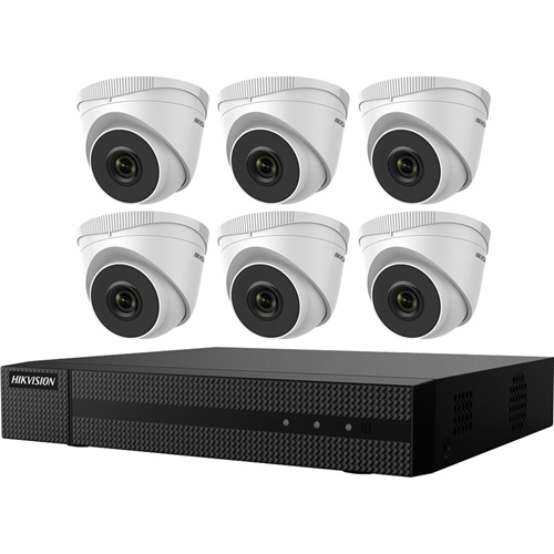 KIT, SIX 2MP OUTDOOR TURRET CAMERAS WITH 2.8MM LEN