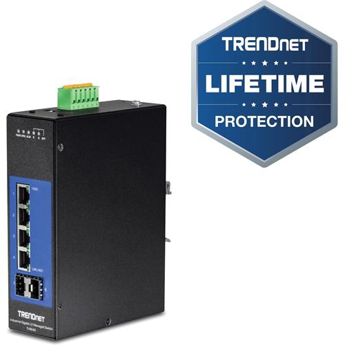 TRENDnet 6-Port Industrial Gigabit L2 Managed DIN-Rail Switch; 4 x Gigabit Ports; 2 x SFP Slots; DIN-Rail Mount; IP30; VLAN; QoS; LACP; STP/RSTP; Bandwidth management; Lifetime Protection; TI-G642i