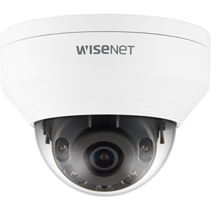 Wisenet Q network outdoor vandal dome camera 5MP @ 30fps 2.8mm fixed focal lens (104 ) triple codec H.265/H.264/MJPEG with Wisestream II 120dB WDR IR LEDs range 65ft.