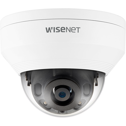 Wisenet Q network outdoor vandal dome camera 5MP @ 30fps 4.0mm fixed focal lens (79 ) triple codec H.265/H.264/MJPEG with Wisestream II 120dB WDR IR LEDs range 82ft.