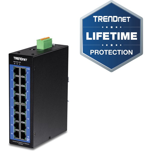 TRENDnet 16-Port Industrial Gigabit L2 Managed DIN-Rail Switch, Layer 2 Switch, 16 x Gigabit Ports, 32Gbps Switching Capacity, Extreme Temperature Gigabit Switch, Lifetime Protection, Black, TI-G160i