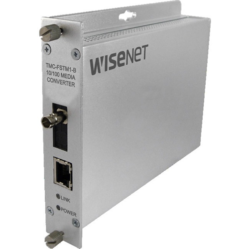 Hardened media fiber converter (A) 100mbps ST Connector multi-mode 1 fiber PoE+ output  48V power supply included (not hardened) TMC-FSTM1-B required to work as a pair.