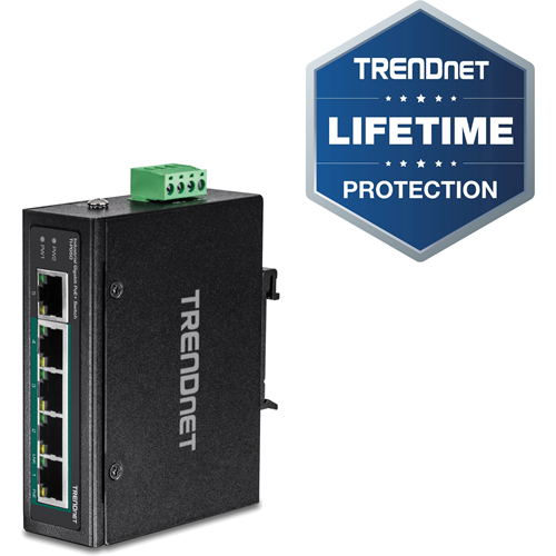 TRENDnet 5-Port Hardened Industrial Unmanaged Gigabit Switch; TI-PG50; 10/100/1000Mbps; DIN-Rail Switch; 4 x Gigabit PoE+ Ports; 1 x Gigabit Port; Gigabit Ethernet Network Switch; Lifetime Protection