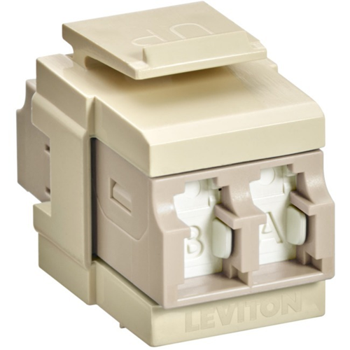 Leviton QuickPort Duplex LC Adapter, Shuttered, MM, Zirconia Ceramic Sleeve, Beige/Ivory