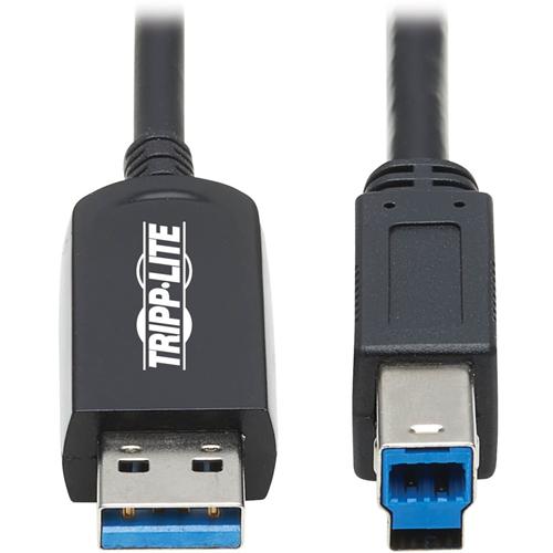 Tripp Lite U328F-20M USB 3.2 Gen 1 Fiber Active Optical Cable, M/M, Black, 20 m (66 ft.)