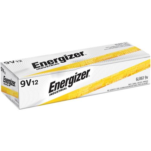 Energizer Industrial Alkaline Battery, 9 Volt, 12/BX