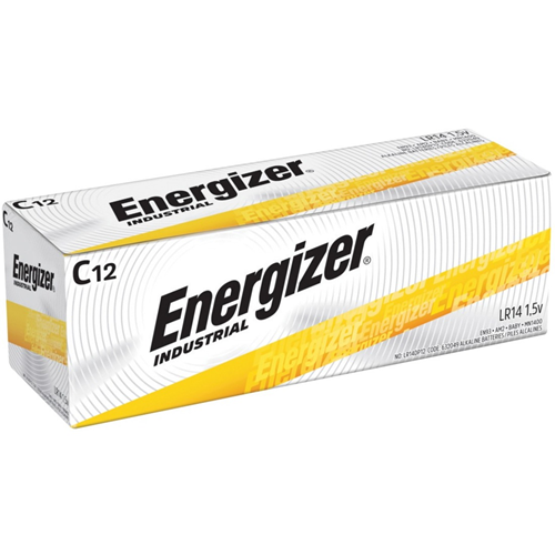 Energizer Industrial Alkaline Battery, C, 12/BX