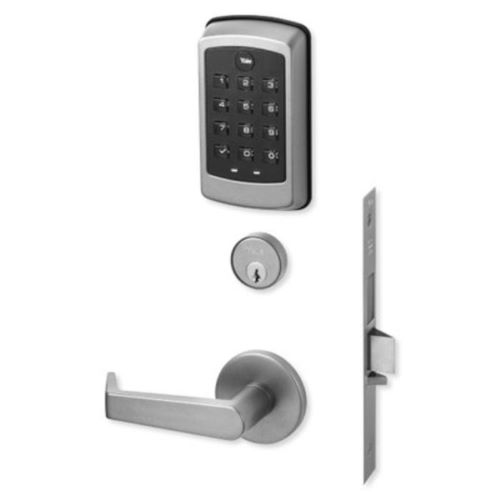 Yale NTM615-ZW2-626 nexTouch Sectional Mortise Lock, Key Override, Pushbutton Keypad with Deadbolt, Z-Wave, Satin Chrome Plated