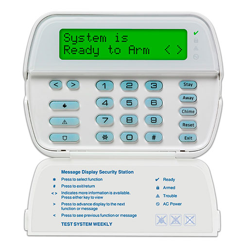 DSC RFK5500 PowerSeries 64-Zone Full-Message Wireless LCD Keypad 433 MHz with Built-In Wireless Receiver