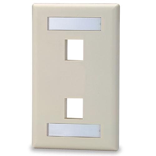 Signamax SKFL-2 2-Port Single-Gang Keystone Faceplate with Labeling Windows, Light Ivory