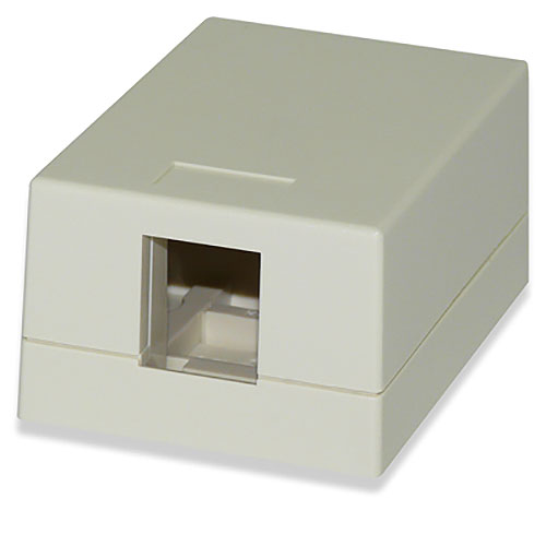 Signamax SMKL-1 1-Port Surface Mount Multimedia Box, Light Ivory