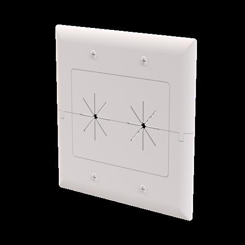 DataComm 45-0027-WH 2-Gang Split Plate with Flexible Opening ((White)