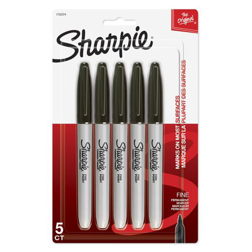 SHARPIE FINE BLACK 5CT