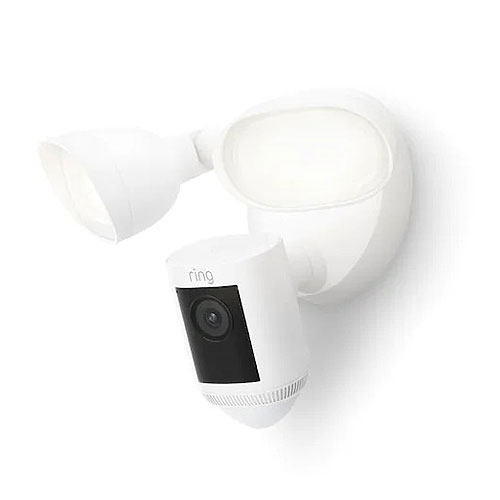 Ring B08FCWRXQR Floodlight Cam Wired Pro - Hardwired Outdoor Smart Security Camera with Two LED Floodlights, White