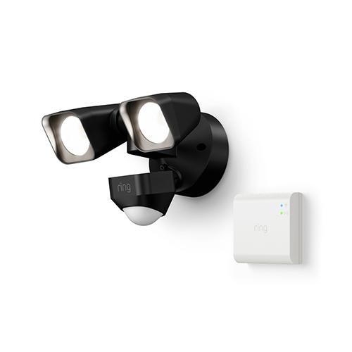 Ring B07Y4874LK Smart Lighting Floodlight Wired Kit, 1 Floodlight + Bridge, Black