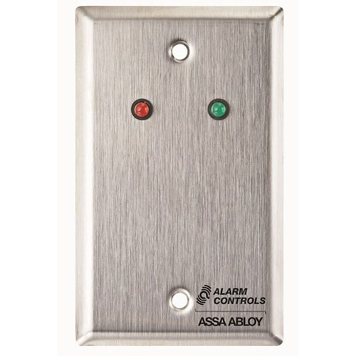Alarm Controls RP-09 Remote Plate Single Gang Red/Green LED, Stainless Steel