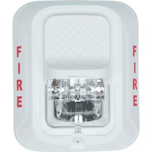 WHITE FIRE PROTECTION HORN STROBE,2-WIRE,WALL MNT