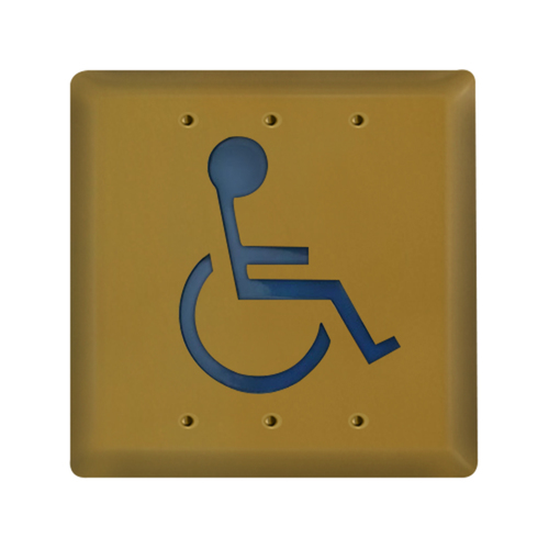 41/2 Inch Square Handicap Push Button Polish Brass