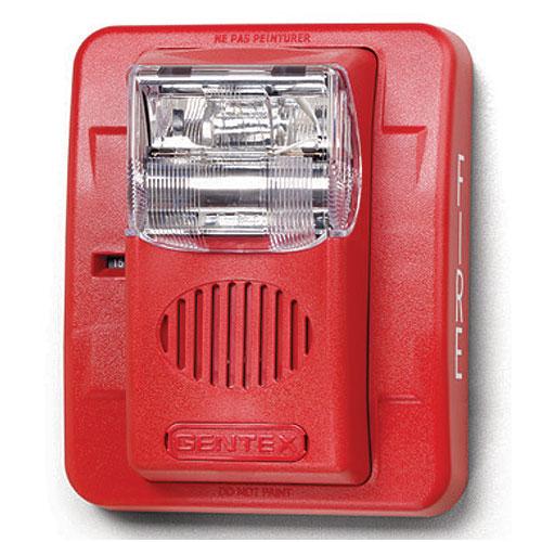 Gentex GEC324PWR GEC3 24VDC Selectable Candela, Low Profile Evacuation Horn/Strobe, Plain (No Lettering), Red