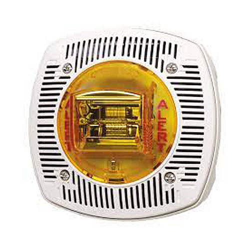Gentex WSSPKA24-15/75AWW Outdoor Speaker/Strobe Wall Mount, 24vdc, Amber Lens, Alert Marketing, White, Weatherproof