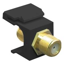ICC IC107B5GBK 2 GHz F-Type Modular Jack with Gold Plated Connector in HD Style, Black