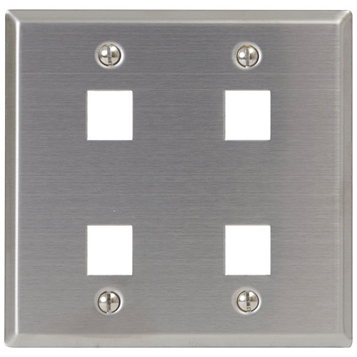 ICC 4-Port Double Gang Stainless Steel Faceplate