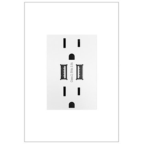 Legrand ARTRUSB153W4WP Adorne Collection Dual-USB Outlet with Gloss White Wall Plate