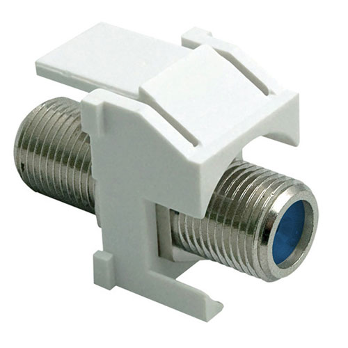 Legrand-On-Q Recessed Coax 3 GHz FConnector Keystone Insert, White, 10Pack