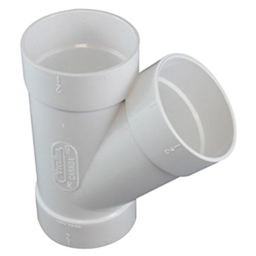 Canplas 765525W 45 Degree Wye - Socket x Socket x Socket, White