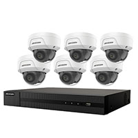 KIT, SIX 4MP OUTDOOR DOME CAMERAS WITH 2.8MM LENS