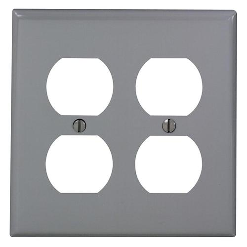 TWO GANG DUPLEX OUTLET WALLPLATE GRAY