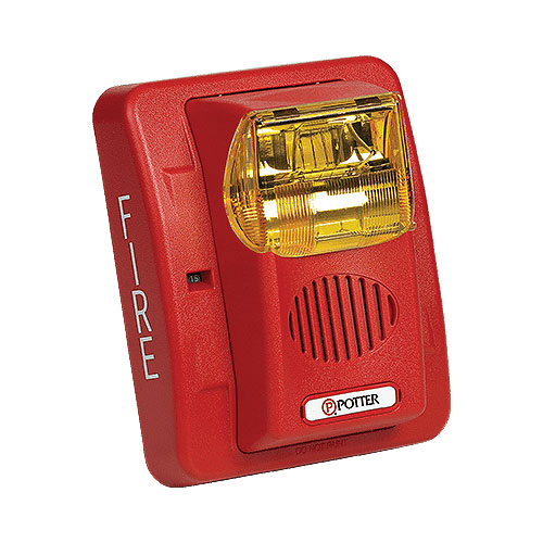 Wall Mnt Selectable Horn/Strobe Red Lens Red Body