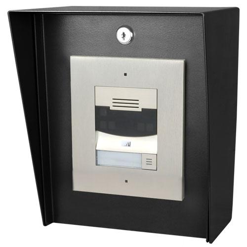 "Pedestal Pro 8"" X 14"" Portrait Stainless Housing, black powder coated, 14 gauge steel, 3"" deep back box, 3.5"" overhang"