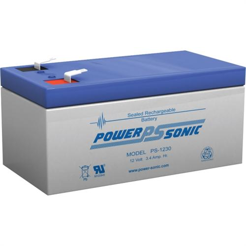 Power Sonic PS-1230F1 12V 3.4Ah, General Purpose VRLA Battery with F1 Terminal