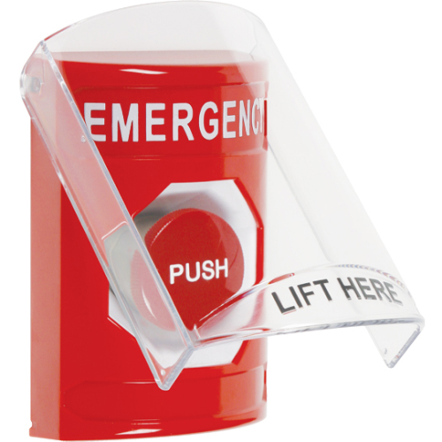 STI SS2024EM-EN Red Indoor Only Flush or Surface Momentary Stopper Station with EMERGENCY